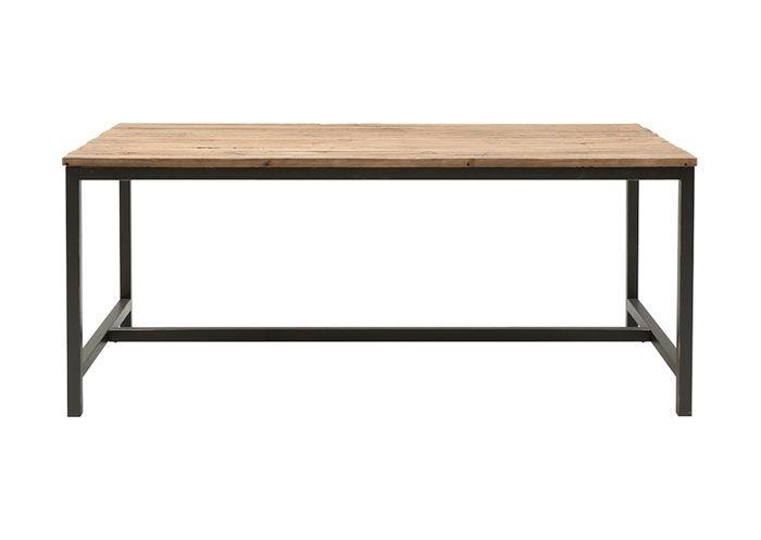 Spisebord i genbrugselmetræ. 90 x 180 cm.