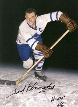 """Ted """"Teeder"""" Kennedy (1925 - 2009) CENTER WITH TORONTO MAPLE LEAFS"""