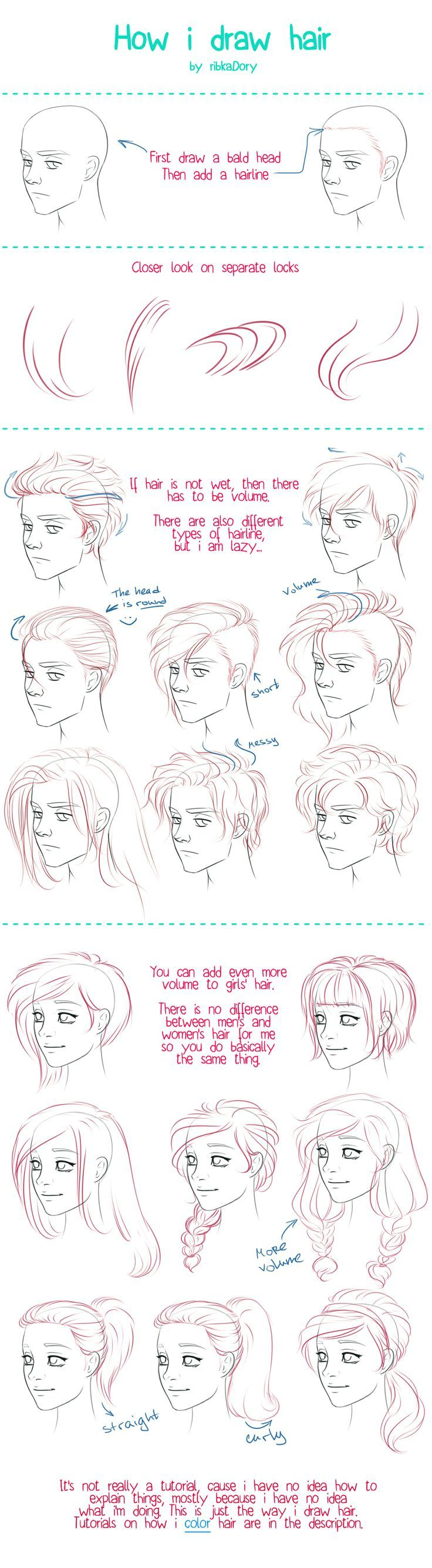 How I Draw Hair by =ribkaDory on deviantART (scheduled via http://www.tailwindapp.com?utm_source=pinterest&utm_medium=twpin&utm_content=post1340065&utm_campaign=scheduler_attribution)