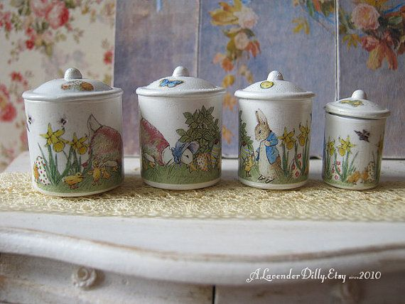 Peter Rabbit Easter Egg Hunt Kitchen Canisters for Dollhouse 1 12 Scale   Kitchen CanistersHouse AccessoriesEgg. 5996 best Dolls house bits and bobs images on Pinterest