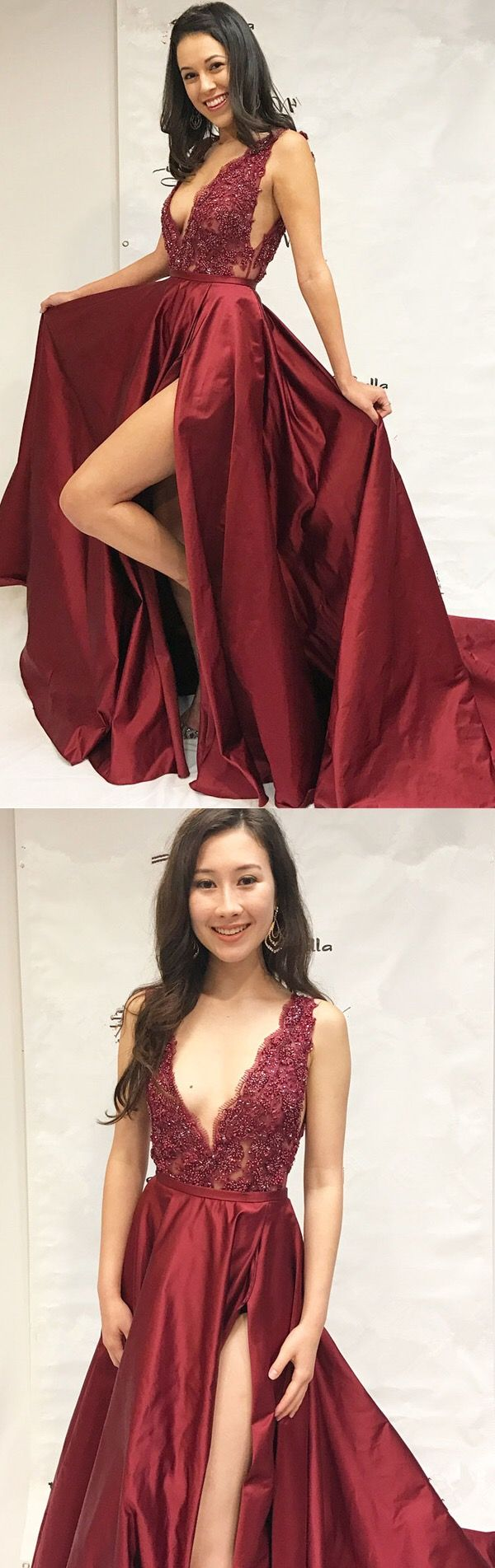 modest deep v neck burgundy prom dresses, unique satin long party dresses with split, elegant plunging evening gowns with beading