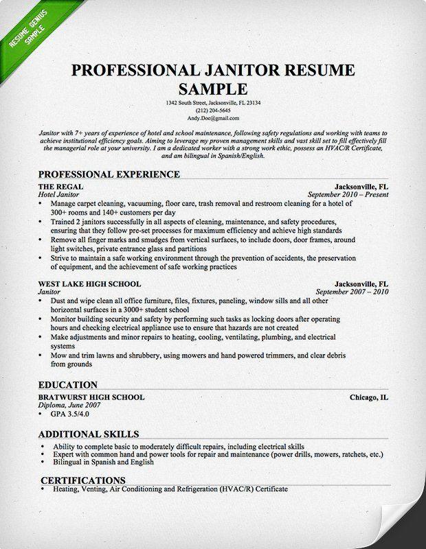 Janitor & Maintenance Resume Sample