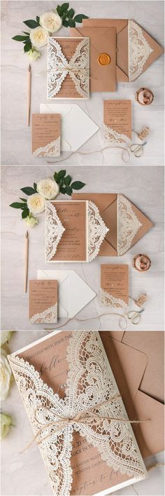 Delightfully Charming Wedding Invitations: Ivory kraft paper laser cut lace rustic. Unique wedding invitations ideas.