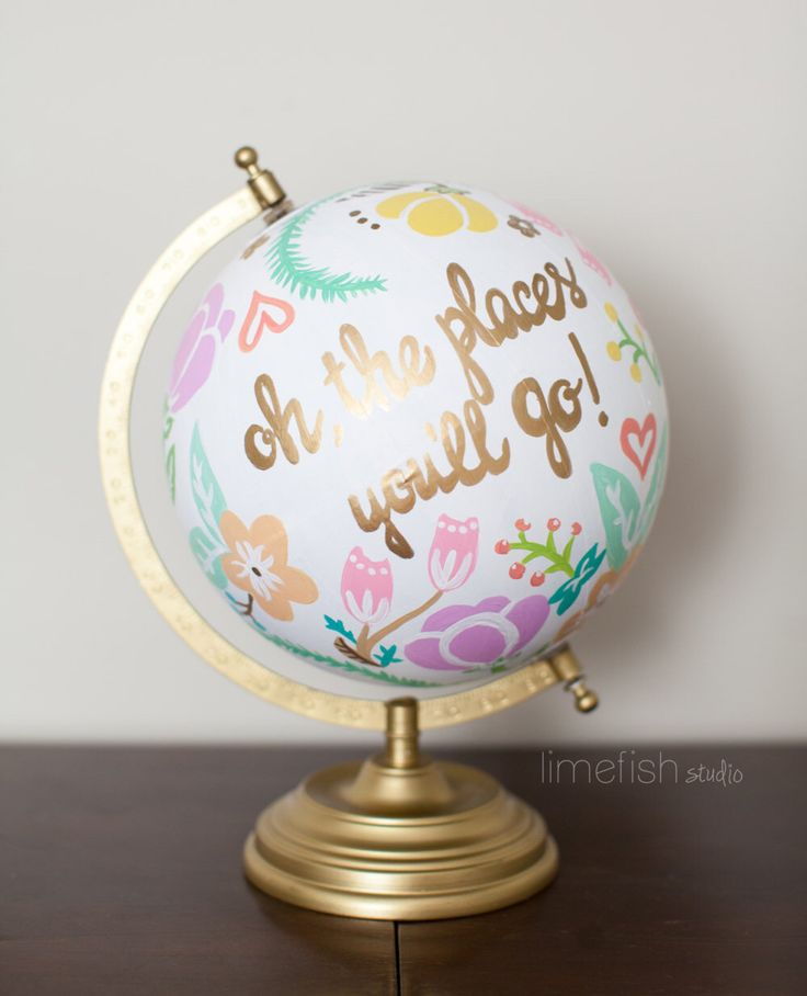 CUSTOM Hand-Painted Globe . Made-to-order . 12 inches . Any Color, Any Style, Any Quote by limefishshop on Etsy https://www.etsy.com/listing/261056406/custom-hand-painted-globe-made-to-order