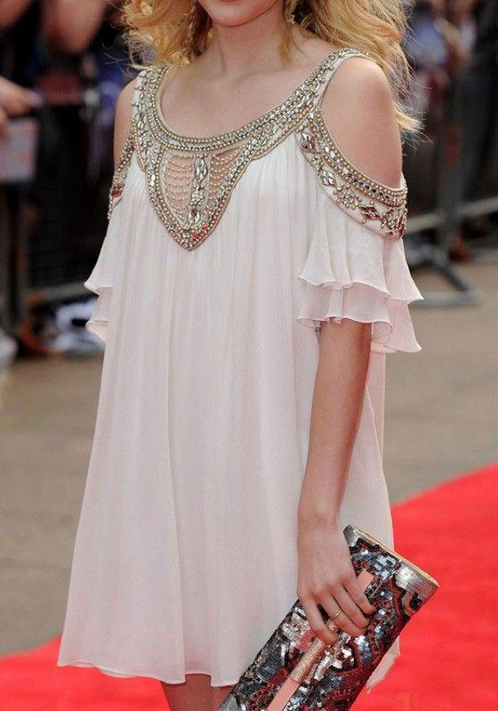 White Plain Beading Cut Out Double-deck Chiffon Dress