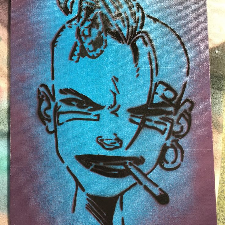 Tank Girl stencil on recycled canvas.  More listings to come soon!