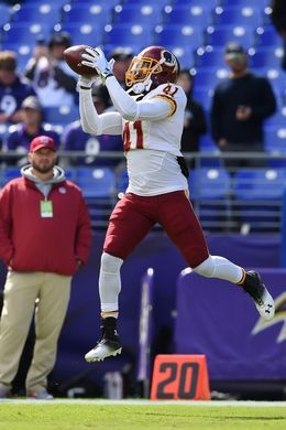 Redskins vs. Reavens  -  Oct 9, 2016:   16-10, Redskins  -     Washington Redskins free safety Will Blackmon (41) makes a catch before the game against the Baltimore Ravens at M&T Bank Stadium. Mandatory Credit: Tommy Gilligan-USA TODAY Sports