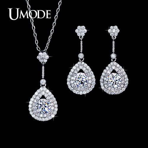 Bridal Wedding Jewelry Set Including 1 Pair Fashion Drop Earrings & Pendant Necklace For Women With CZ AUS0025