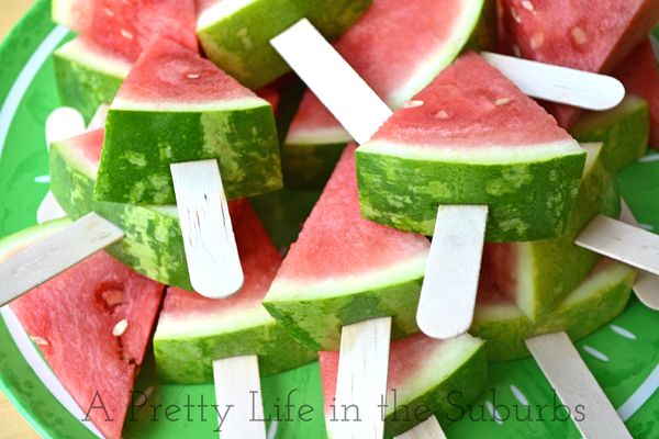 DIY:  10 Year Old Party Ideas - Watermelon Pops - a cute way to serve watermelon, a s'mores station, plus lots of other cute yet practical ideas!