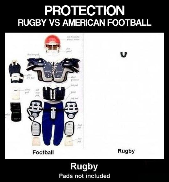 Rugby vs. American Football: fragile, spoilt Yank footballers with all-over padding and enormous helmets wouldn't last five minutes in rugby; they'd be terrified of getting a scratch on their pretty faces ~ Rugby is a proper man's sport ...