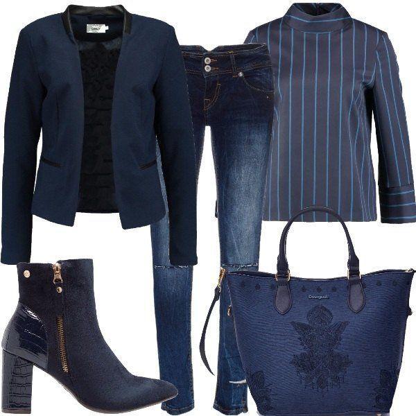 Blazer+in+blu,+senza+chiusura+e+con+inserti+di+ecopelle+a+contrasto,+blusa+a+righe,+con+colletto+alla+coreana+e+dalla+vestibilità+ambia,+da+indossare+sblusata,+se+si+preferisce,+jeans+Find+a+vita+bassa,+modello+ripped.+Tronchetto+in+ecopelle+e+tessuto,+con+effetto+verniciato+sul+retro+e+chiusura+a+zip+laterale,+borsa+Desigual,+con+logo+e+dettagli+ornamentali.+Per+un+total+look+consiglio+un+cappotto+o+un+piumino+per+le+giornate+fresche+e+degli+orecchini+se+si+amano+gli+accessori.