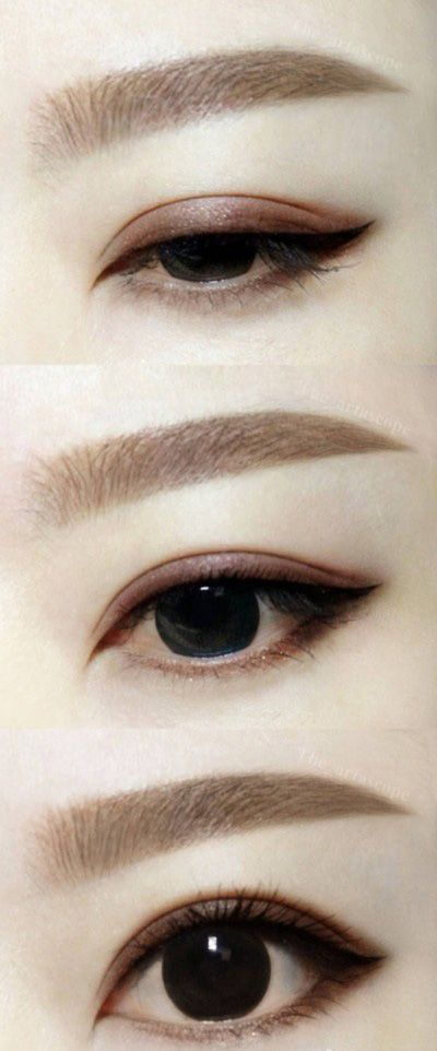 Asian brown-schemed eye makeup. Straight eyebrows.