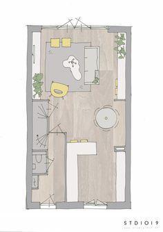 www.studio1019.nl interieuradvies. Indeling nieuwbouwhuis Hilversum type Loods. Ronde eettafel. Plattegrond tekenen. Layout.