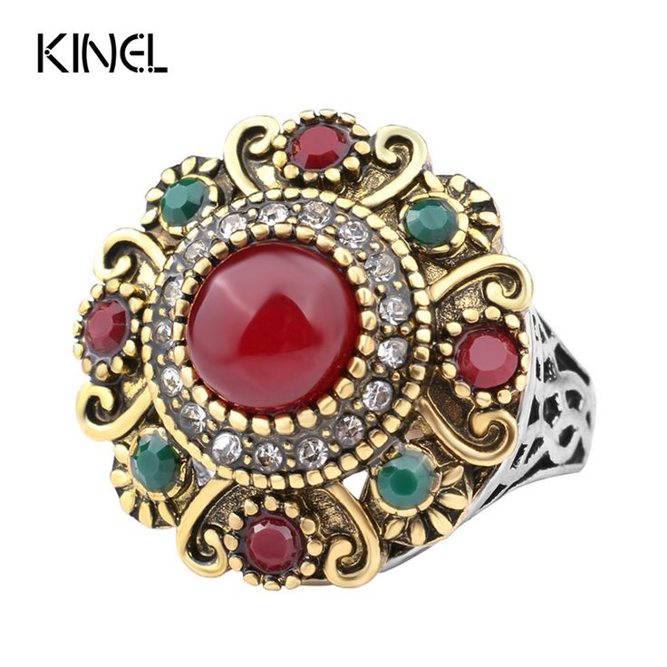 Unique Vintage Wedding Ring Turkey Crystal Jewelry Big Size 10 Rings For Women Lnlay Resin  Accessories 2016 New