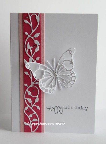 handmade birthday card ... delightfully clean and simple ... Memory Box die cut butterfly and leaf flourish border ... great card ...