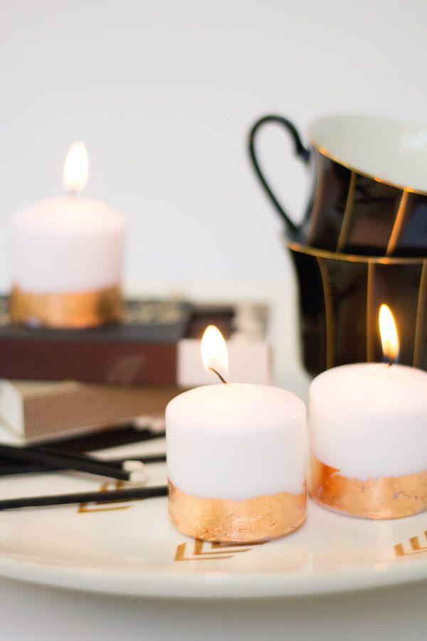 DIY Kupfer Blatt Kerzen