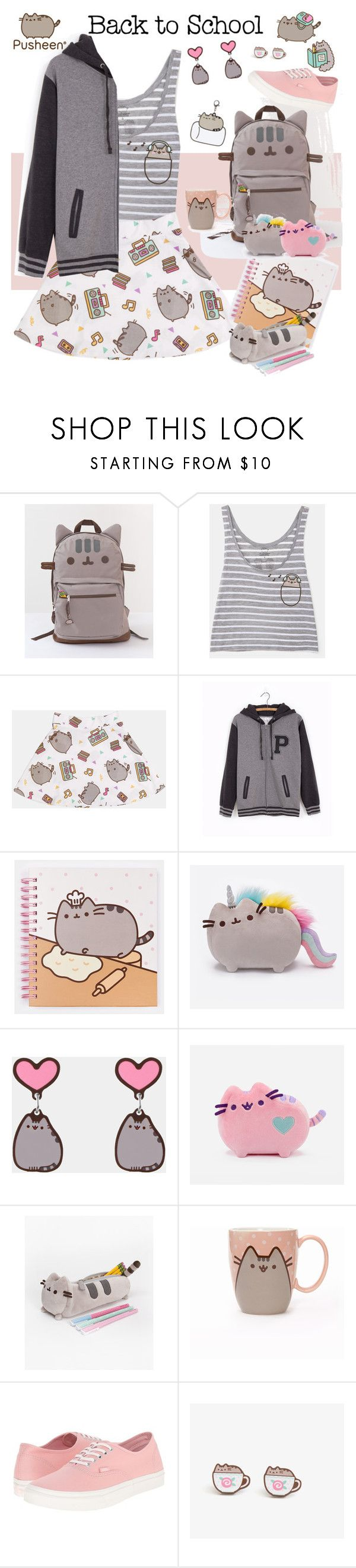 """#PVxPusheen"" by streetglamour on Polyvore featuring Pusheen, Vans, contestentry and PVxPusheen"