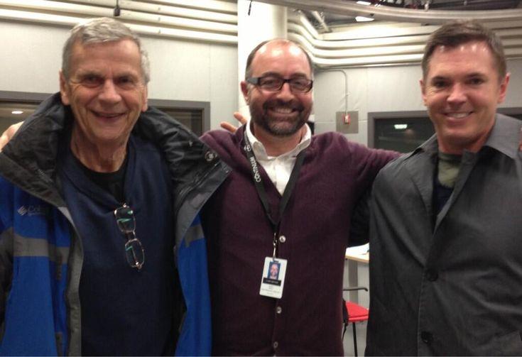 Continuum creator Simon Barry poses with X-Files alums, William B. Davis (elder Alec Sadler) and Nicholas Lea (Agent Gardiner)