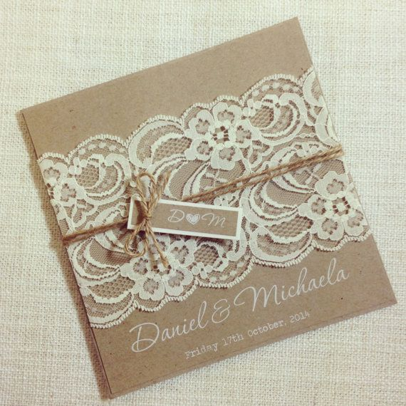 Rustic Wedding Invitation WHITE INK - Rustic Vintage Lace Square Invitation SAMPLE