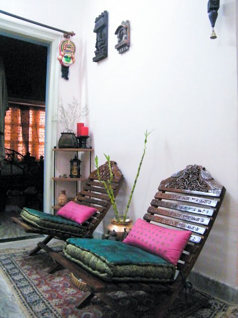 Love the wooden chairs and cushion/pillow colors! Boho Style | Vibe