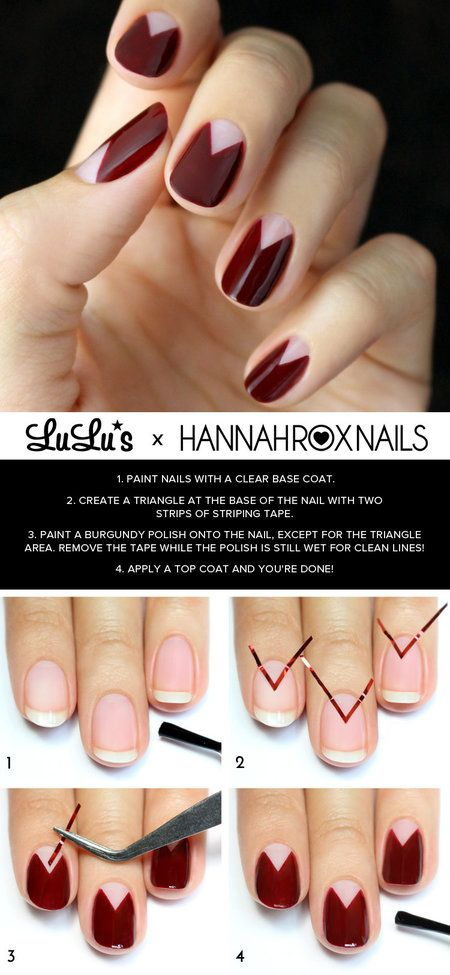 I really like this nail art look! It looks really good with that color. Can't wait to try it this fall. But so sad Summer is practically over ;-(  http://blog.lulus.com/beauty/mani-monday-burgundy-chevron-half-moon-nail-tutorial/