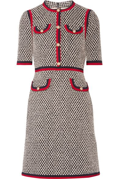 Gucci - Grosgrain-trimmed Cotton-blend Tweed Mini Dress - Black