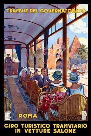 Rome City Tour saloon tram 1927   http://www.vintagevenus.com.au/vintage/reprints/info/TV655.htm