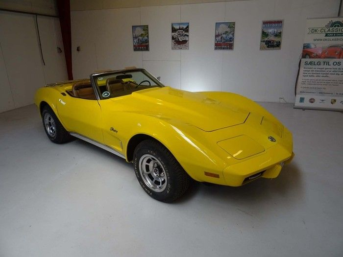 1975 Chevrolet Corvette Stingray Convertible with automatic transmission. The car present very well and have no cosmetic or mechanical issues.  The car has the rare factory correct Bright Yellow color code 56L exterior paint. Only 2,869 produced in this rare color. This is the last year of the corvette C3 convertible making this a historical and desirable car.  The car has Danish papers and registration.  - K254