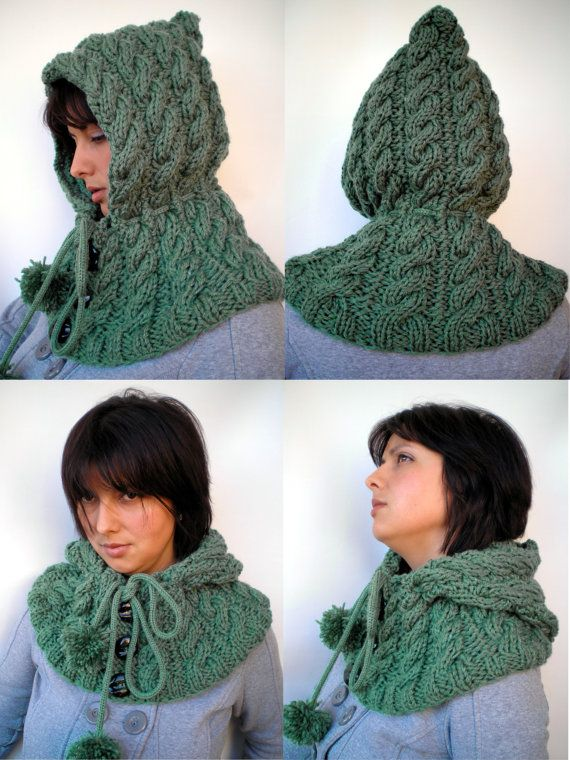 Green Royal Hood Hat soft Wool Hooded Cowl Hand Knit by NonnaLia
