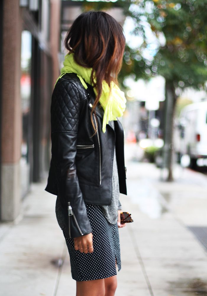 A leather jacket with a pencil skirt for the office?  Yes, please.