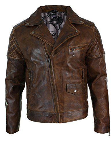 Veste marron pour homme en véritable cuir vielli avec fermeture éclair style motard vintage retro décontracté