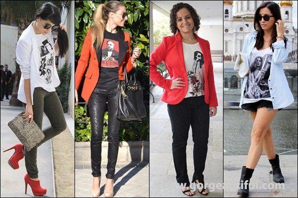 Women Blazer with Graphic T shirt