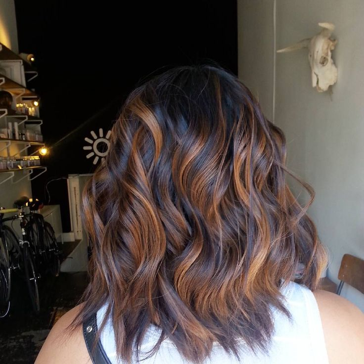 Stunning Cinnamon Balayage For Layered Espresso Brown Hair