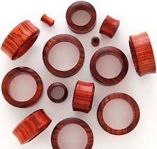 PAIR-RED TIGER Wood Tunnels- CARVED ORGANIC FLESH TUNNELS-EAR GAUGES-EAR PLUGS