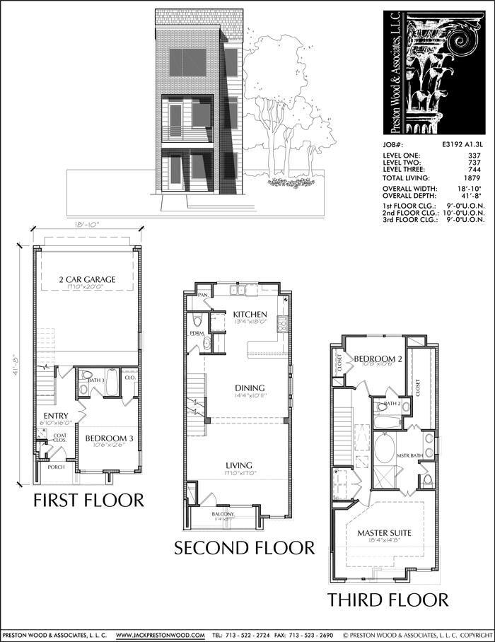 Inner City Townhouses Urban Townhomes Traditional Neighborhood Housi Preston Wood Associates Town House Floor Plan Narrow House Plans Duplex House Plans