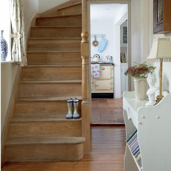 How to decorate a hallway wooden staircases rustic stairs and cottage stairs - Country cottage hallways ...