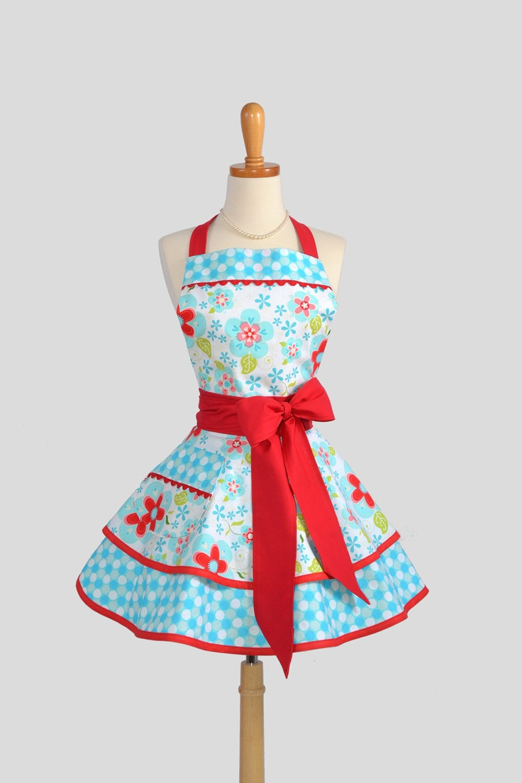 Ruffled Retro Apron - Teal Floral and Red