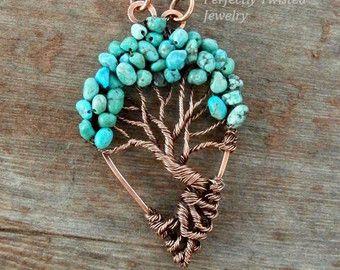 Filo avvolto Bonsai di albero della vita pendente, in turchese, gioielli fatti a mano, anticato rame, filo gioielli albero perfettamente ritorto