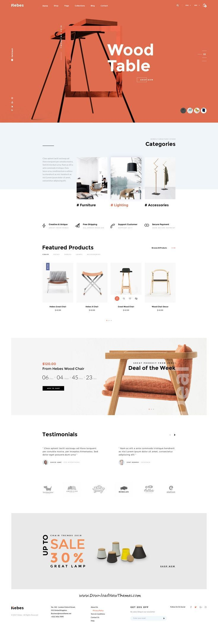 HEBES is clean, stylish and modern design PSD template for sunning interior, decor, furniture shop eCommerce website with 16 niche #homepage layouts and 78 layered PSD pages to live preview & download click on Visit #onlineshopping #psdmockups