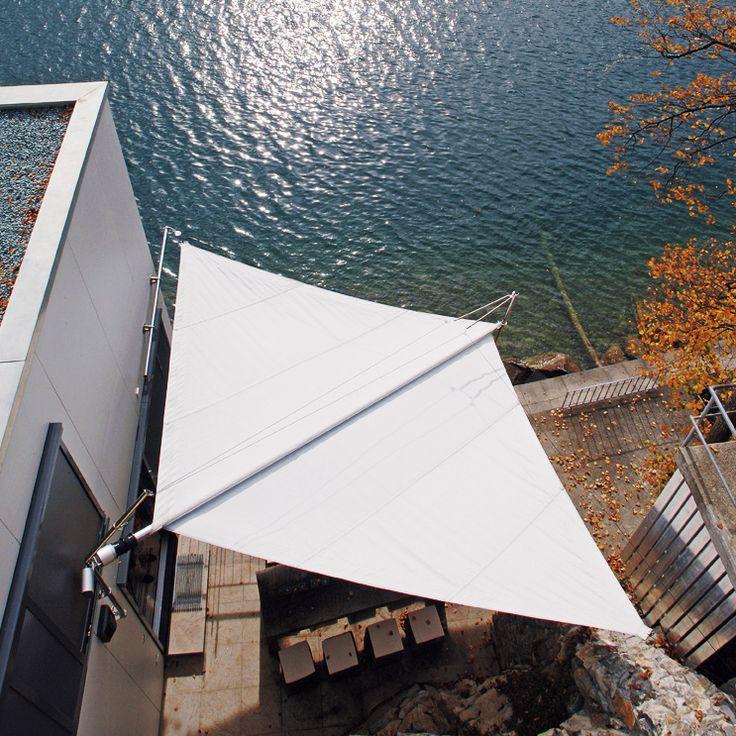 Ein SunSquare Sonnensegel ist ein Rollsegel für Schatten und Sonnenschutz.