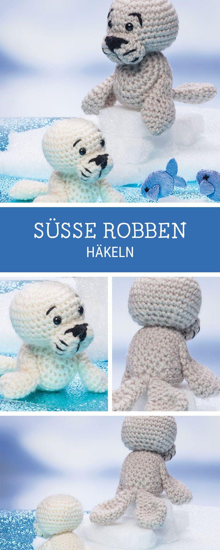 Amigurumi häkeln: Anleitung für Robben Strickfiguren in verschiedenen Größen / diy crocheting pattern for seals, amigurumi pattern via DaWanda.com
