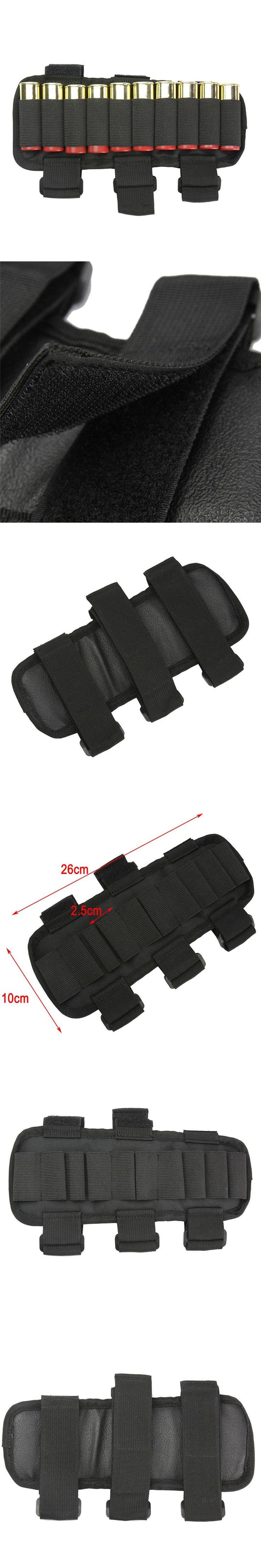 10 Round Shotgun Shotshell Reload Holder Molle Pouch for 12 Gauge/20GA Cartridge Hunting Stock Buttstock Carrier Holder