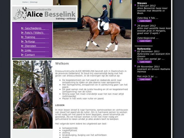 De website van dressuurinstructeur Alice Besselink.  http://www.dressuurinstructeur.nl