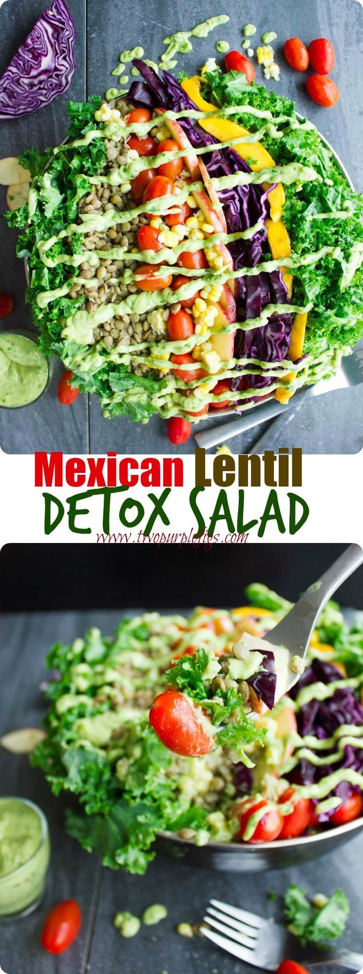 Mexican Style Lentil Detox Salad. The perfect way to cook lentils and make perfect detox salad with a Mexican twist--drizzled with an AMAZIG guacamole dressing! Vegan and Gluten free. www.twopurplefigs.com
