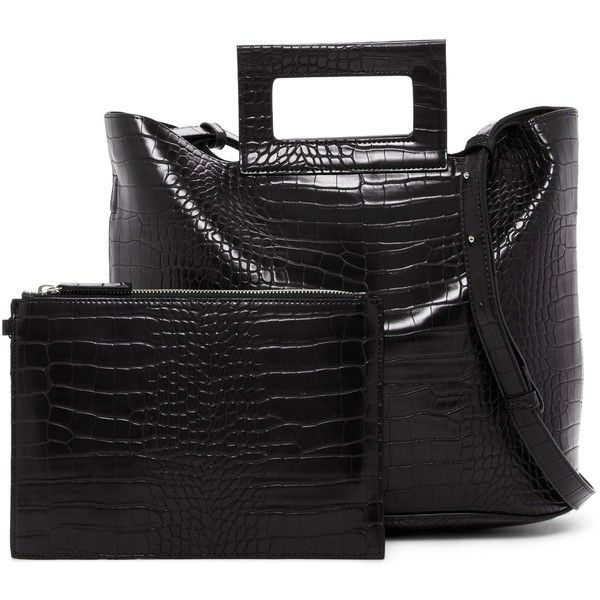 French Connection Corey Croc Embossed Tote (£45) ❤ liked on Polyvore featuring bags, handbags, tote bags, black, handbags totes, rectangular tote bag, vegan handbags, vegan tote bags and crocodile tote bag