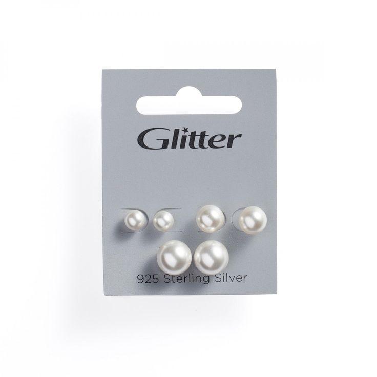 Sølv øredobber plastperler, 3- pack