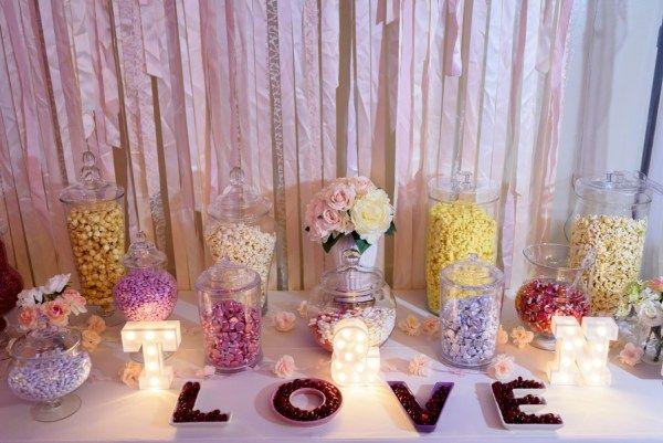 pink glam wedding - candy and popcorn bar