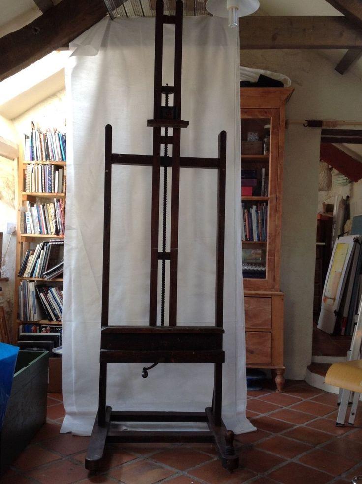 19th C antique oak artist's studio easel