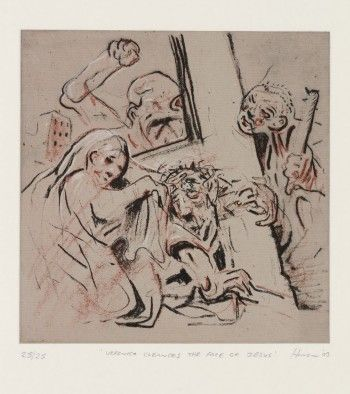 Title: The Stations of the Cross VII. Veronica Cleans The Face Of Jesus Artist: Peter Howson Year: 2003 Medium: Etching with chine colle Dimensions: 44 x 42.5 cm Location: http://www.flowersgallery.com/works/view/14014-the-stations-of-the-cross-vii-veronica-cleans-the-face-of-jesus