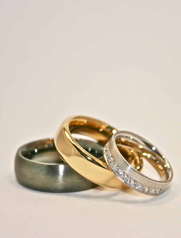 bands .... 18ct white gold with brilliant cut diamonds , 18ct yellow gold , sterling silver rhodium plated black .... YOU choose